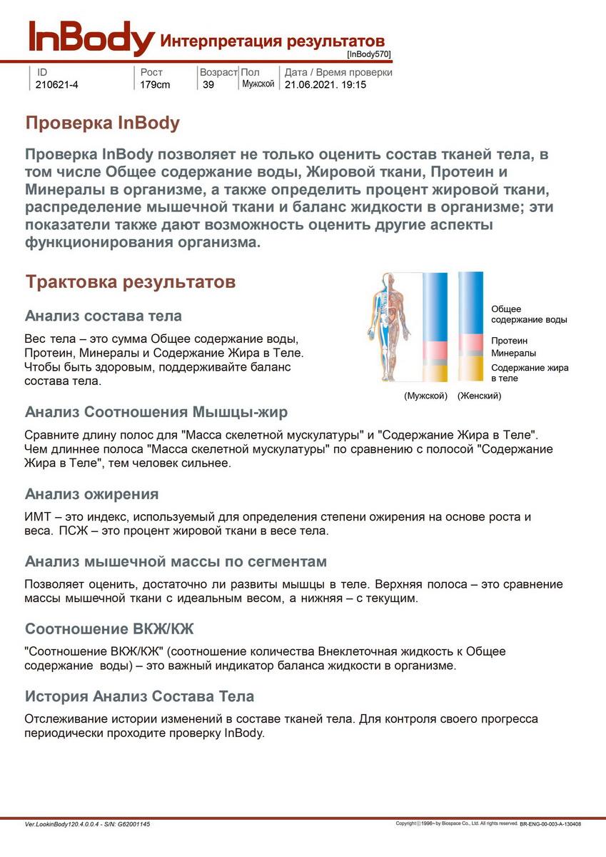 Лист с описанием параметров из отчета Inbody